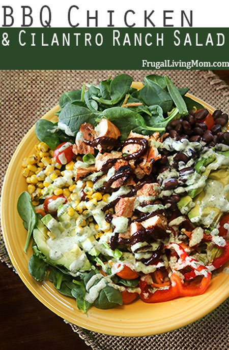 BBQ Chicken and Cilantro Ranch Salad from Frugal Living Mom {20 Main Dish Salads Perfect for Summer on OneCreativeMommy.com}