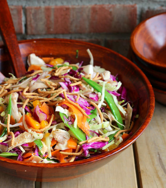 Chicken Cabbage Salad with Honey Lime Dressing from Rachel Cooks {20 Main Dish Salads Perfect for Summer on OneCreativeMommy.com}