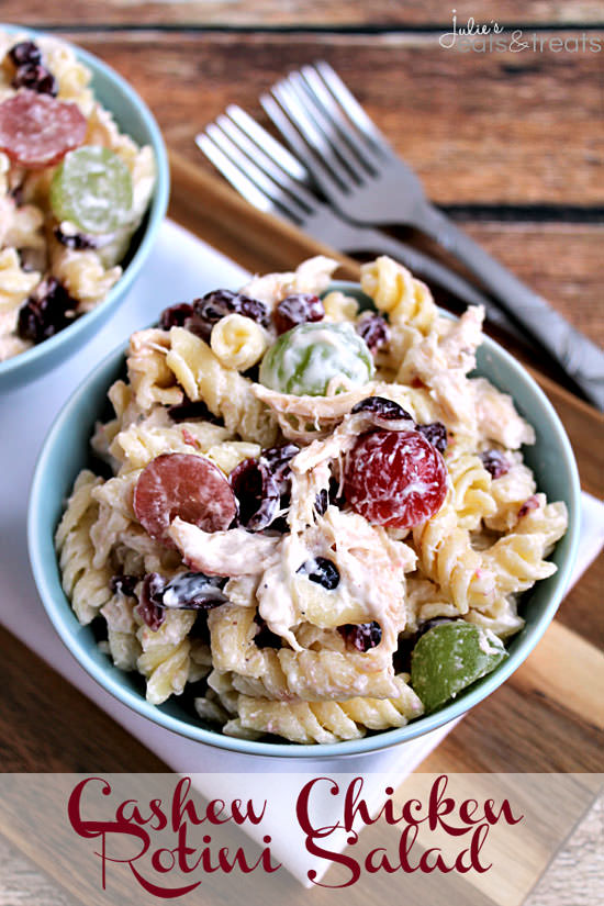 Cashew Chicken Rotini Salad from Julie's Eats & Treats {20 Main Dish Salads Perfect for Summer on OneCreativeMommy.com}