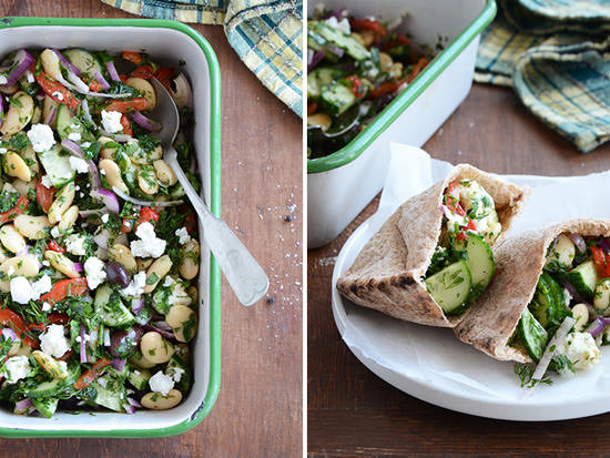 Greek-Flavored Butter Bean Salad from An Edible Mosiac {20 Main Dish Salads Perfect for Summer on OneCreativeMommy.com}
