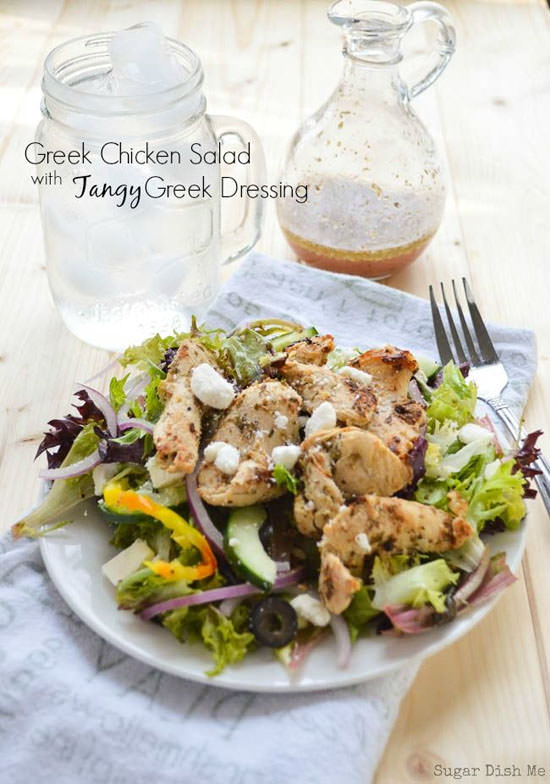 Greek Chicken Salad with Tangy Greek Dressing from Sugar Dish Me {20 Main Dish Salads Perfect for Summer on OneCreativeMommy.com}