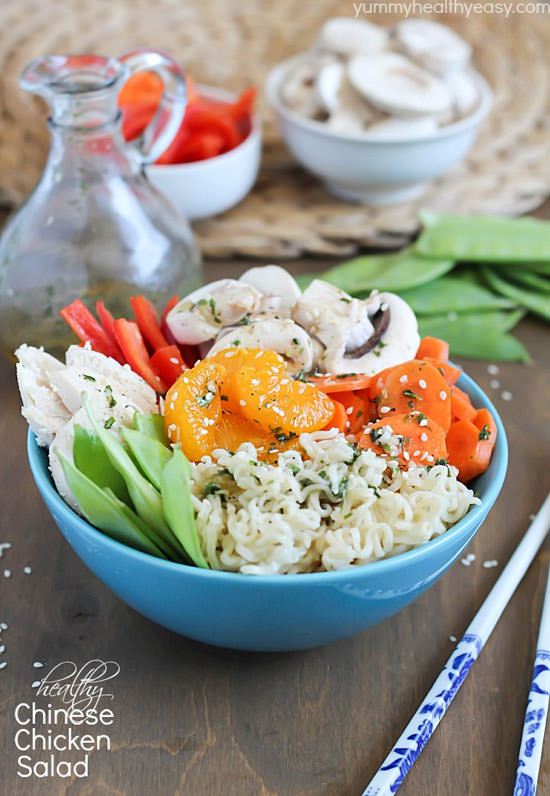 Healthy Chinese Chicken Salad from Yummy Healthy Easy {20 Main Dish Salads Perfect for Summer on OneCreativeMommy.com}