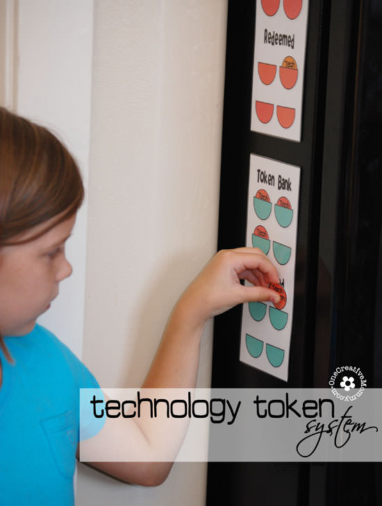 Technology Token System {Free Printable Token System for Controlling Time with Technology} OneCreativeMommy.com