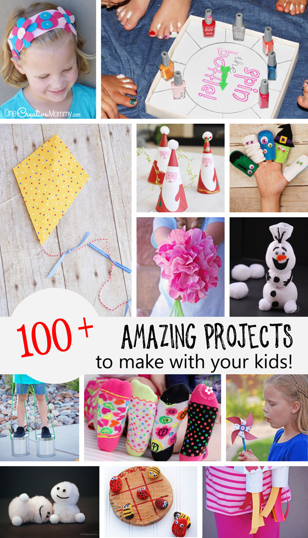 Over 100 Amazing Crafts for Kids! Fun & creative projects to make with children! {OneCreativeMommy.com} Kids Crafts | Family Fun