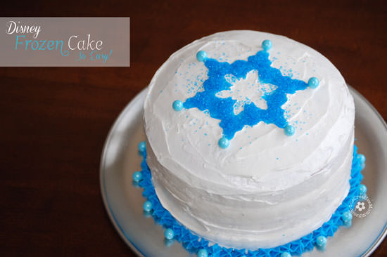 Easiest Ever Disney Frozen Birthday Cake! {OneCreativeMommy.com} #frozenpartyideas