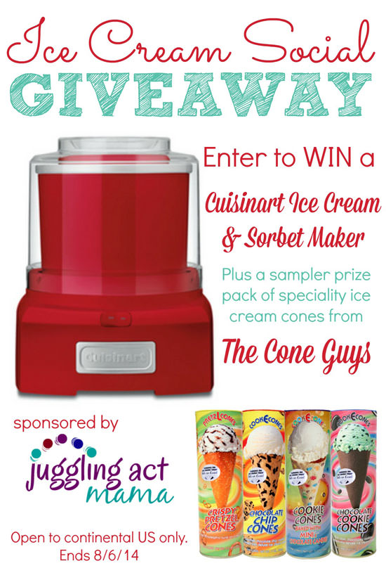 Ice Cream Social Giveaway! {Win a Cuisinart Sorbet & Ice Cream Maker & More!} OneCreativeMommy.com #giveaway