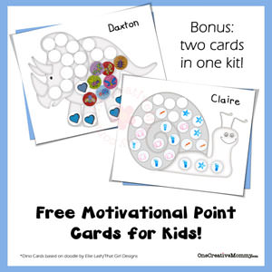 1 Year of Free Point Cards for Motivating Kids {Snail & Dino} OneCreativeMommy.com #printable