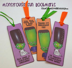 Monstrously Fun Bookmarks Free Printable {OneCreativeMommy.com}