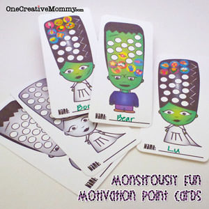 Monstrously Fun Point Cards for Kids {OneCreativeMommy.com} #printable