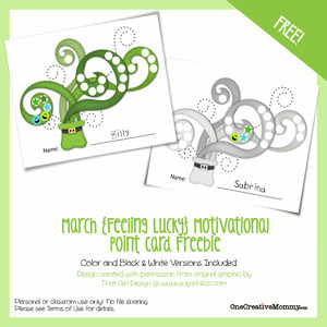 1 Year of Free Point Cards for Motivating Kids {St. Patrick's Day} OneCreativeMommy.com #printable