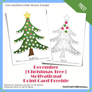 1 Year of Free Point Cards for Motivating Kids {Christmas Theme} OneCreativeMommy.com #printable