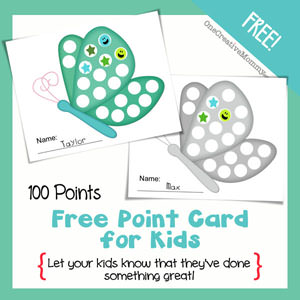 How to Motivate Kids with Point Cards {Butterfly} OneCreativeMommy.com #printable