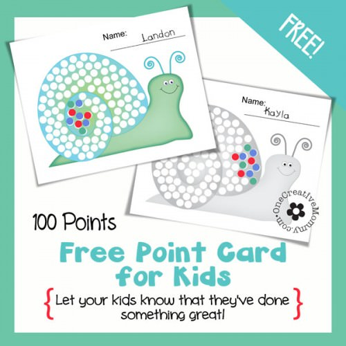How to Motivate Kids with Point Cards {100-point Snail} OneCreativeMommy.com #printable