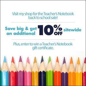 Back-to-School Savings! Save 15% off my entire store at Teacher's Notebook!