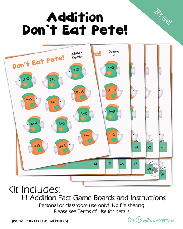 Looking for a fun way to memorize addition facts? Try this Dont Eat Pete Addition Game! | A fun educational version of a family favorite! {OneCreativeMommy.com}