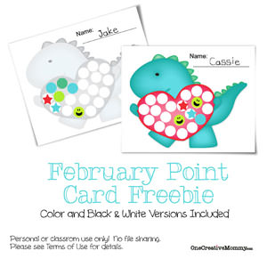 1 Year of Free Point Cards for Motivating Kids {Dino Stole My Heart} OneCreativeMommy.com #printable #valentinesday