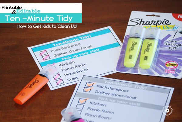 Learn how to get kids to clean up with editable, printable Ten-Minute Tidy Charts! {OneCreativeMommy.com} #SharpieClearview #PMedia #ad