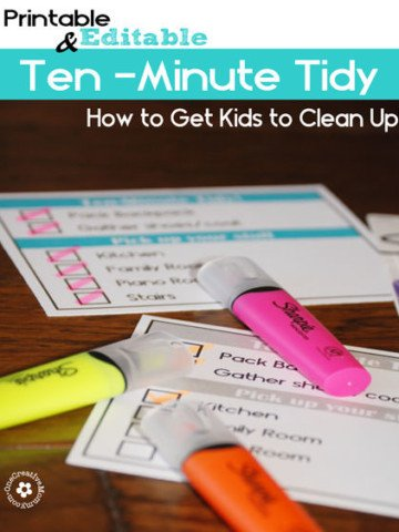 Learn how to get kids to clean up with editable, printable Ten-Minute Tidy Charts! {OneCreativeMommy.com} #cleaningtips #SharpieClearview #PMedia #ad