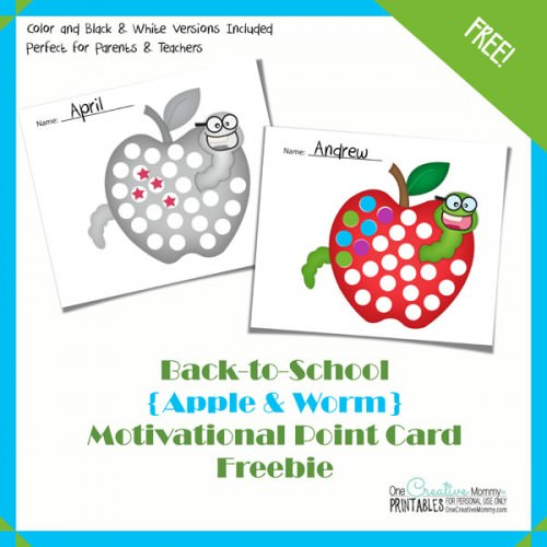How to Motivate Kids with Point Cards {New design for Back-to-School!} OneCreativeMommy.com #printable