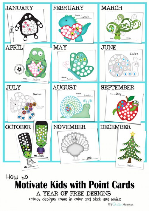 How to Motivate Kids with Point Cards {A Year of Free Designs from OneCreativeMommy.com} #printable #motivatekids