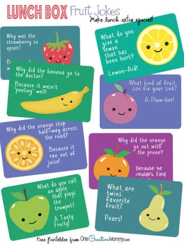 Lunch Box Jokes {Fruit Jokes} Free #Printables for #backtoschool! {OneCreativeMommy.com}