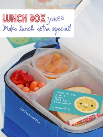 Lunch Box Jokes for Back-to-School! Send a smile and an excuse to make a new friend! {OneCreativeMommy.com} #SchoolLunch #DelMonteBTS #PMedia #ad @Delmontebrand