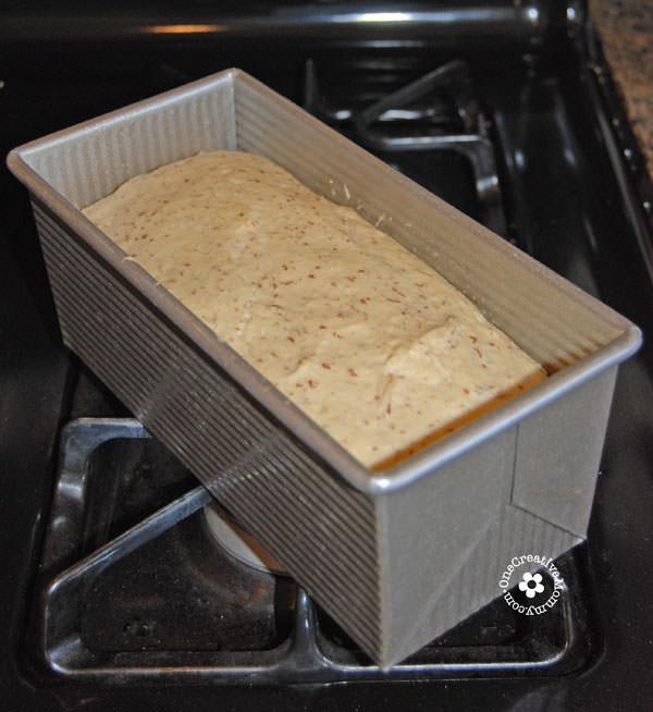 No-Fail Millet Oatmeal Gluten Free Bread {Dough raising in my favorite bread pan} OneCreativeMommy.com