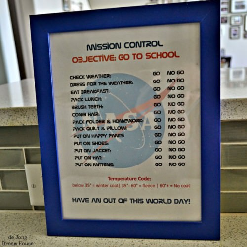 Mission Control Chore Chart from de Jong Dream House