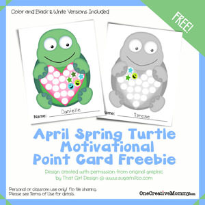 1 Year of Free Point Cards for Motivating Kids {Turtle} OneCreativeMommy.com #printable