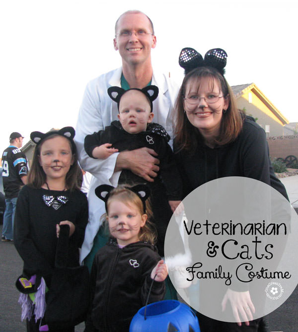 A Family of Cats and their Veterinarian {Costume idea on OneCreativeMommy.com} #familyhalloweencostumes #halloweencostumes