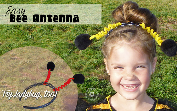 Easy Floppy Bee Antenna for Halloween {Works for Ladybug or Butterfly, too!} OneCreativeMommy.com #halloweencostumes #kidshalloweencostumes