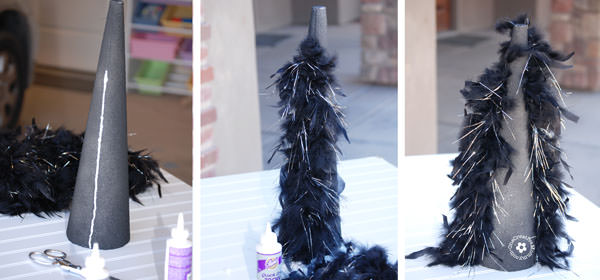 Halloween Feather Tree Steps Used {OneCreativeMommy.com}