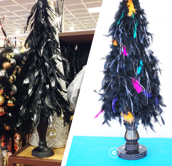Pier 1 Inspired Halloween Feather Tree {OneCreativeMommy.com} #feathertree #halloweendecor