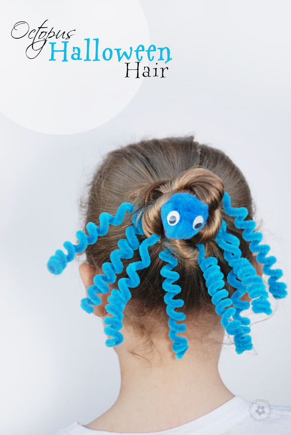 Crazy Hair Day doesn't have to mean ugly hair -- Check out this adorable Octopus Hair {OneCreativeMommy.com}