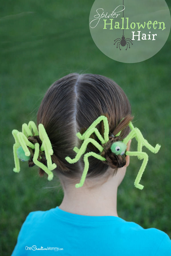 Perfect for Crazy Hair Day or Halloween, this Spider Hair tutorial is easy and fun! {OneCreativeMommy.com}
