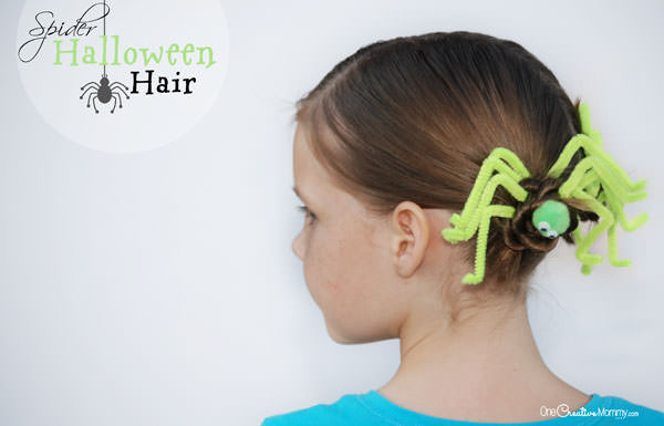Miraculous Fun Halloween Hair Spider Hair Onecreativemommy Com Hairstyles For Women Draintrainus