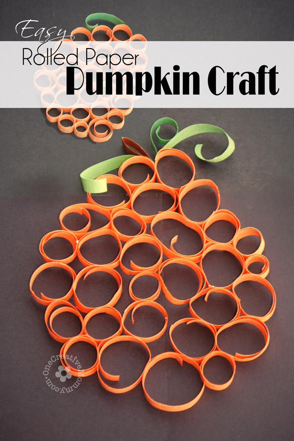 Easy Rolled Paper Pumpkin Craft - onecreativemommy.com