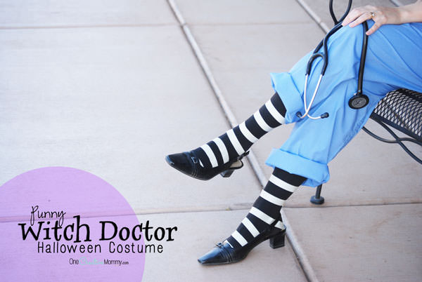 Quick Pun Halloween Costume: Witch Doctor {So easy to put this together!} OneCreativeMommy.com