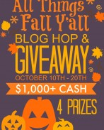 It's Fall Y'all Huge Blog Hop and Giveaway! Check out our roundup of 70+ Fall Decor, Crafts, Recipes and Activities for Fall and Halloween, and then stick around to win one of 4 cash prizes! {OneCreativeMommy.com}