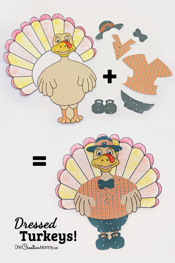 While you're cooking turkey with dressing, let the kids make dressed turkeys! {OneCreativeMommy.com} Thanksgiving kids craft with Silhouette and Print and color files included.