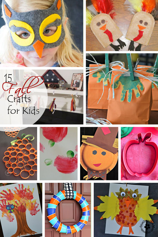 15 Fall Crafts for Kids {Perfect activities to do with your kiddos when the weather gets cold!} OneCreativeMommy.com}