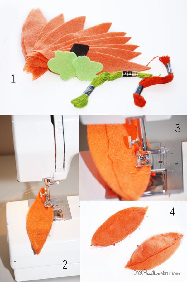 Felt food pumpkins tutorial | Steps 1-4 {OneCreativeMommy.com}
