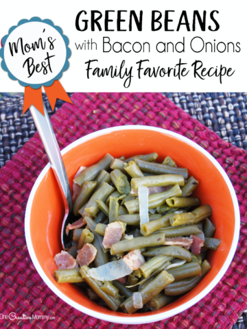 Just in time for the holidays, I'm sharing Mom's best green beans with bacon & onions recipe. It's the perfect side dish for Thanksgiving, Christmas and every day! Simple to make & gluten free, even picky eaters love these beans. #thanksgivingrecipes #christmasrecipes #glutenfree #greenbeancasserole