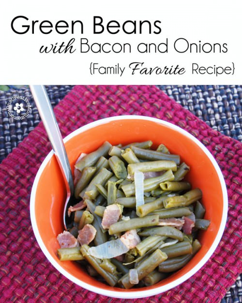 Green Beans with Bacon and Onions {Gluten Free Side-Dish that's perfect for Thanksgiving and Christmas--even my pickiest kiddos love this recipe!} OneCreativeMommy.com