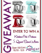 Enter to win a 5-Quart KitchenAid Stand Mixer! {Open to US & Canada 10/22-11/5 {OneCreativeMommy.com}