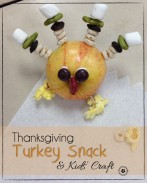 Easy Thanksgiving Snack & Kids Craft {This turkey is perfect for home, preschool, or a class party!} OneCreativeMommy.com
