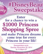 Do you know a little Princess who deserves royal treatment? Enter for a chance to win #DisneyBeauties $1000 Shopping Spree! Find rules and enter sweepstakes here: POSTLINK. Prize: $1000 Walmart gift card Ends: 11/30/14. #ad