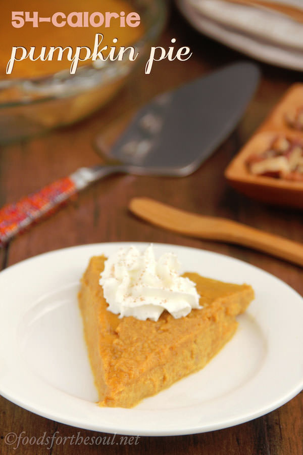 Crustless Pumpkin Pie {54 Calories!} from Amy's Healthy Baking {25 Thanksgiving Dessert Recipes from OneCreativeMommy.com}