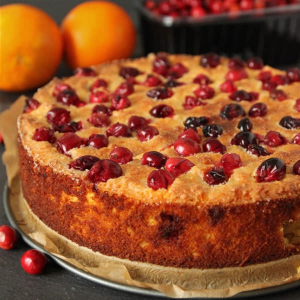 Grain-free and Gluten-free Cranberry Orange Cake from Texanerin Baking {25 Thanksgiving Dessert Recipes from OneCreativeMommy.com}