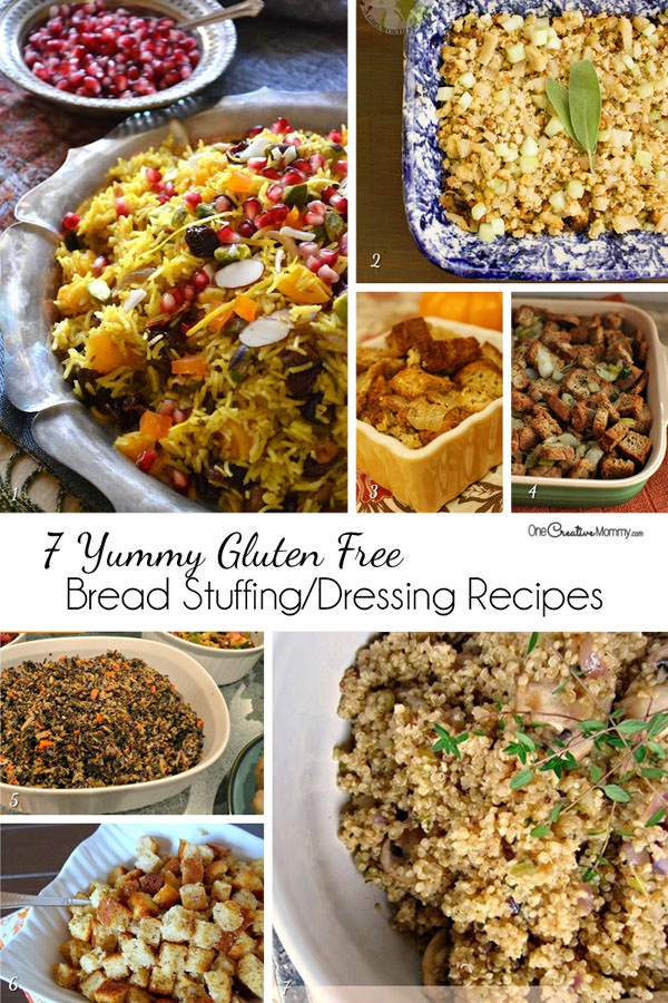 7 Yummy Dressing and Bread Stuffing Side Dish and Substitute Recipes Perfect for Your Gluten Free Thanksgiving and Christmas Dinner {OneCreativeMommy.com} #stuffing